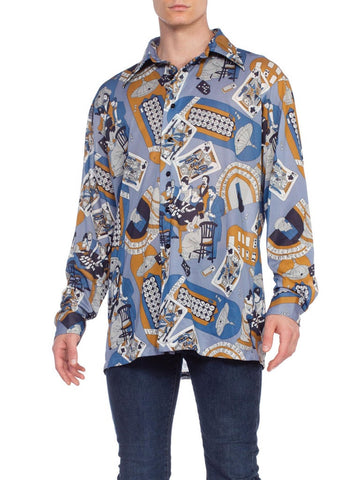 Men's 1970's Victorian Gambler Poker Disco Shirt