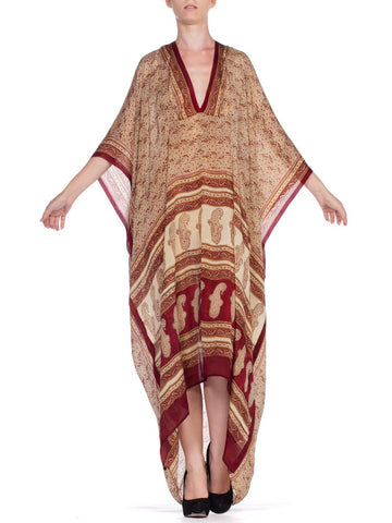 Morphew Collection Kaftan Made With Hand Blocked Indian Silk