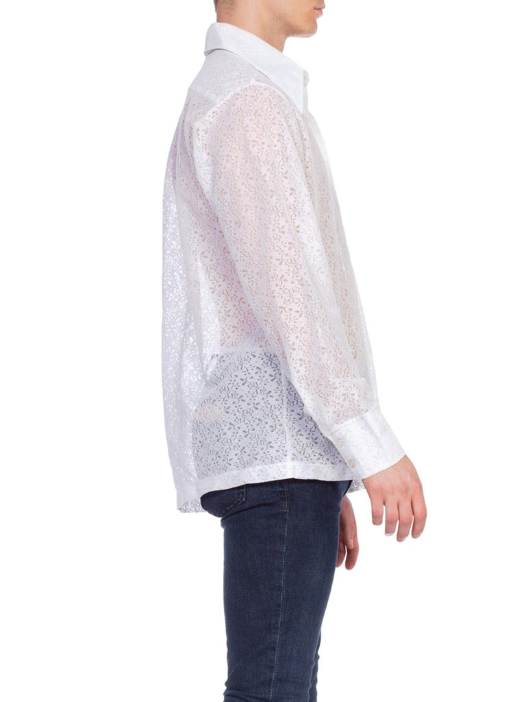 1970'S White Polyester Men's Floral Lace Disco Shirt