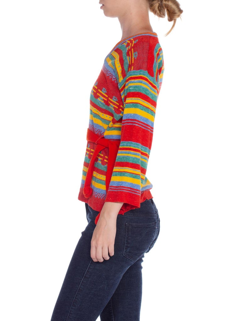 1970'S Multicolor Acrylic Blend Knit Aztec Stripe Sweater With Belt