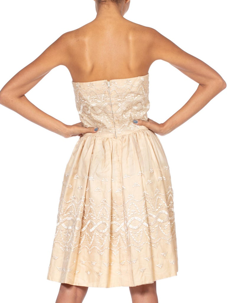 1950S Ivory Embroidered Silk Organza Strapless Party Cocktail Dress