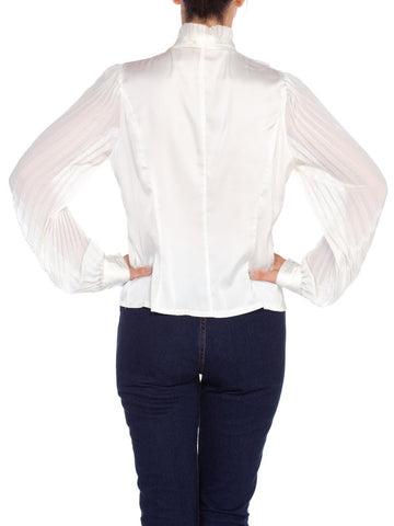 1970'S White Polyester Sateen Ruffled Bow Neck Blouse