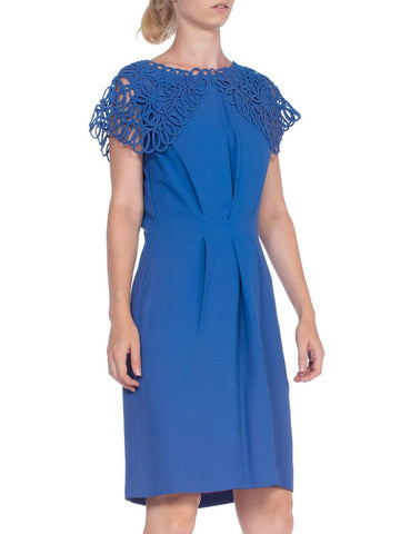 1960's Blue Crepe Dress With Squiggle Lace Collar