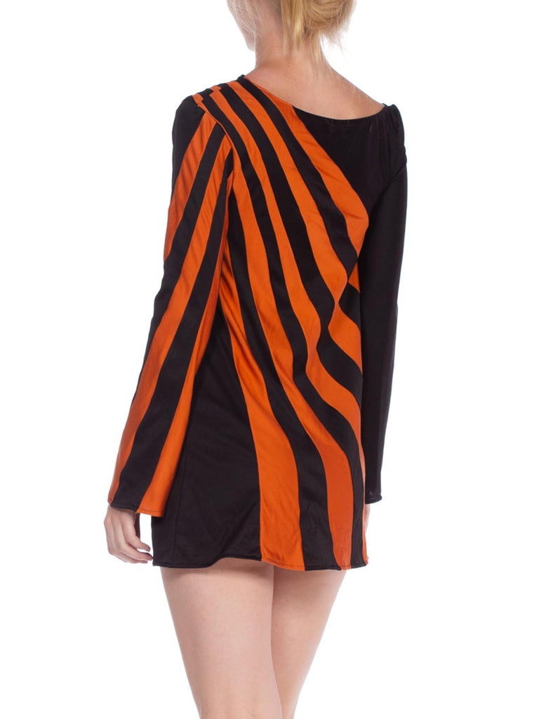 1960S Black & Orange Polyester Jersey Op-Art Stripe Micro Mini Mod Tunic Dress