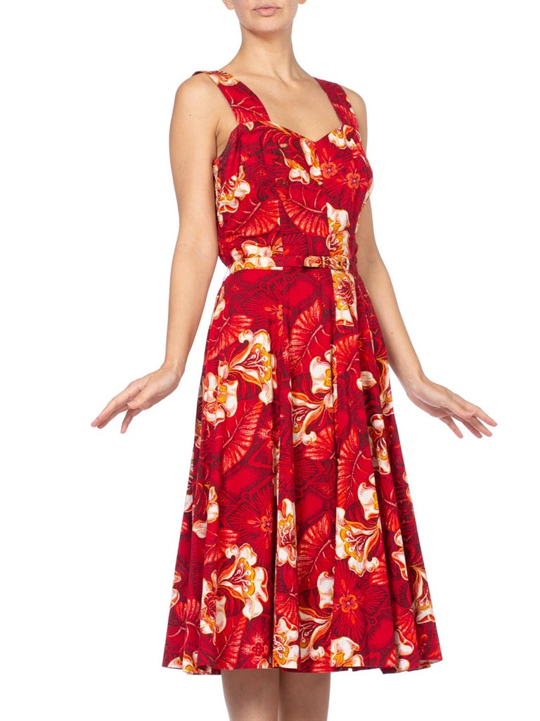 1950S Red Tropical Cotton Rockabilly Hawaiian Floral Dress