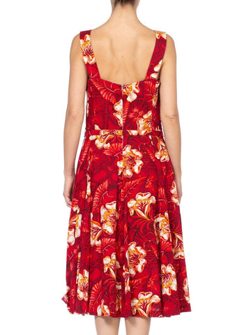 1940/50'S Rockabilly Hawaiian Red Tropical Floral Cotton Dress