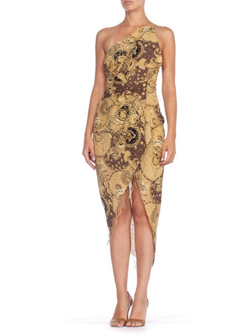 MORPHEW COLLECTION Bias Cut Cotton Indian Paisley Printed One Shoulder & Backless Dress