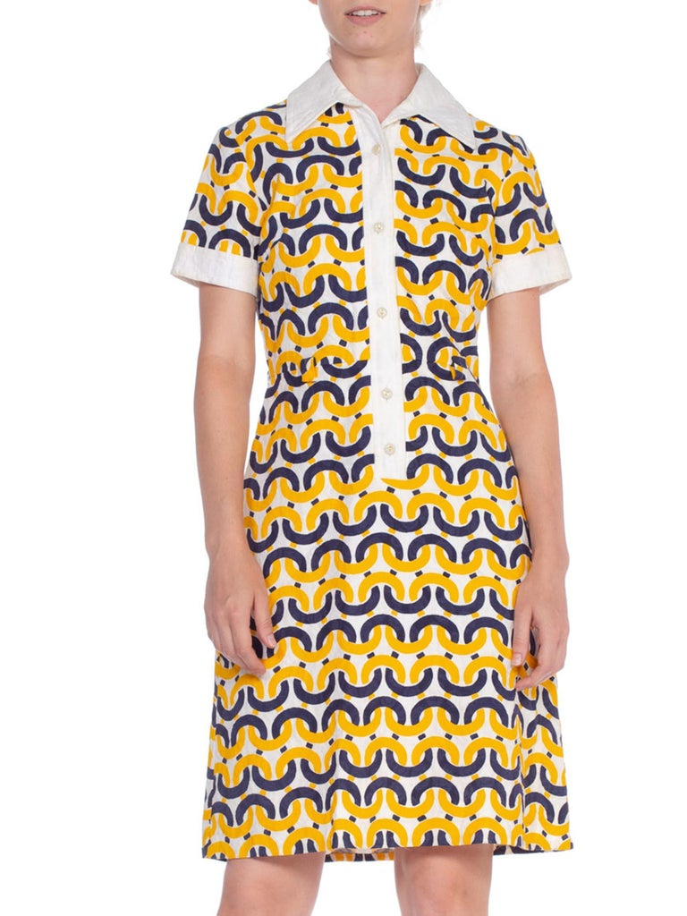 1960's Donna Gay Mod Nautical Print Cotton Dress From England