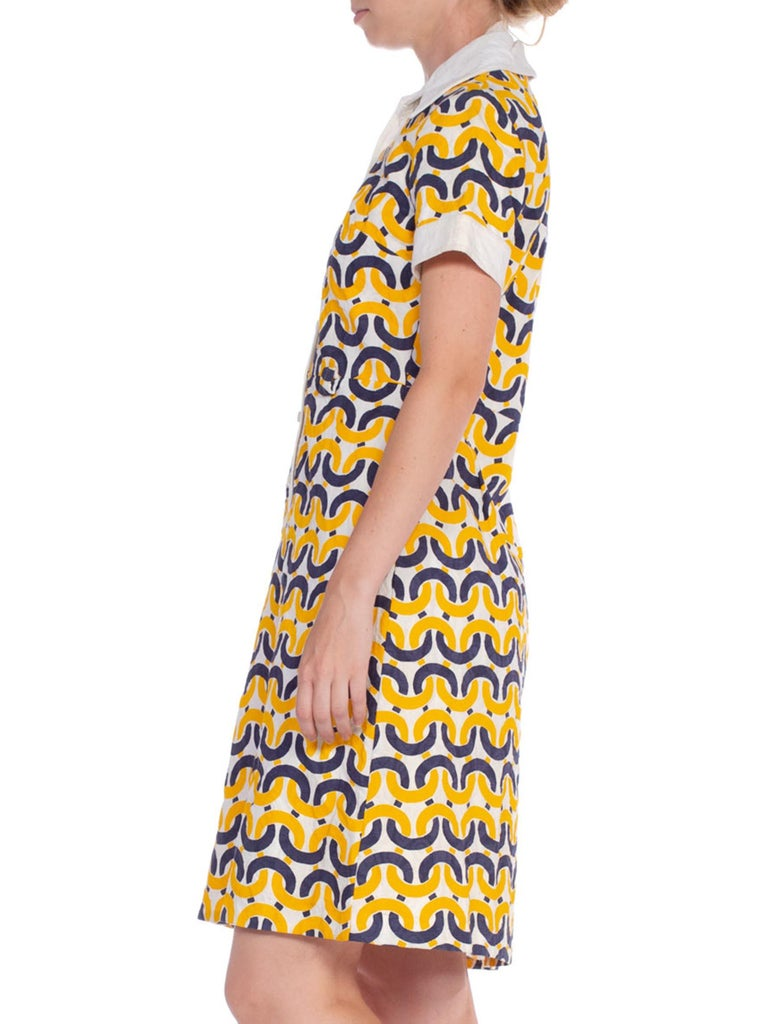 1960'S Donna Gay Mod Nautical Print Cotton Dress