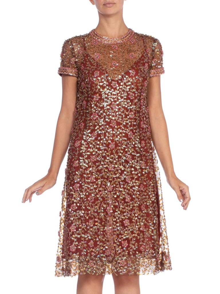 1960'S Brown Nylon Tulle Mod Sheer Nude Cocktail Dress Beaded With Pink Flowers