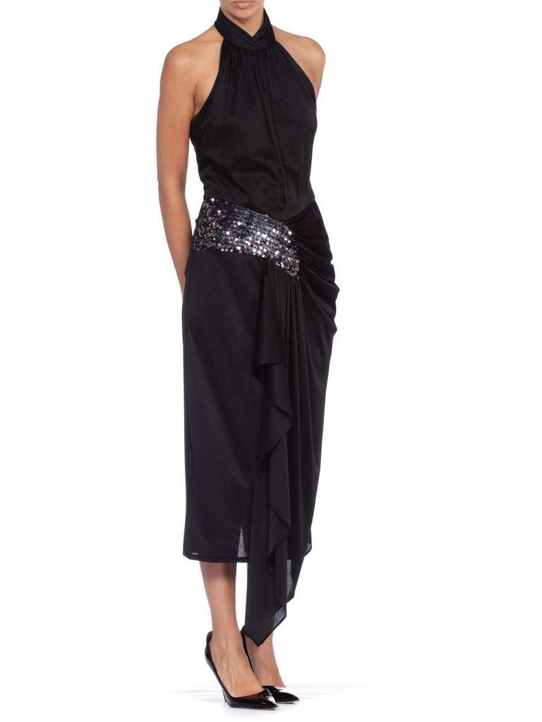 1980'S Black Polyester Jersey Slinky Disco Party Halter Dress With Silver Sequins