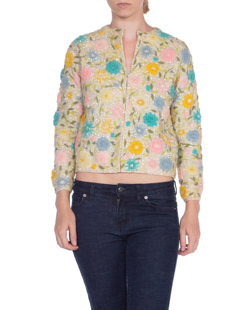 1950/60'S  Hand Embroidered Sequin Floral Cardigan