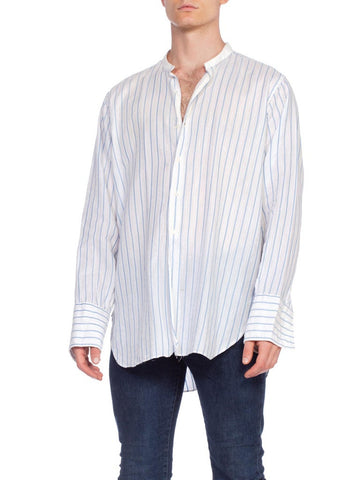 1920's Mens Edwardian French Cuff Pinstripe Shirt