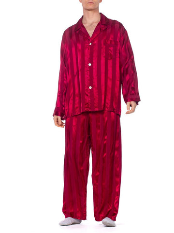 1940S Maroon Rayon Men's Satin Stripe Pajamas Large Size