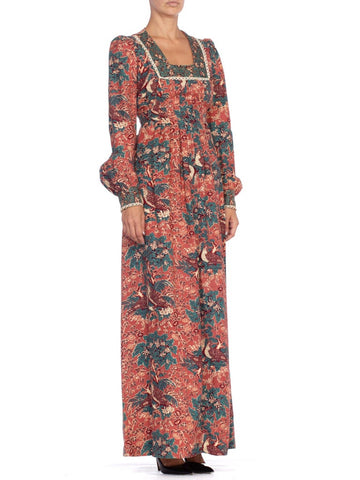 1970'S Floral Cotton Victorian Style Boho Dress