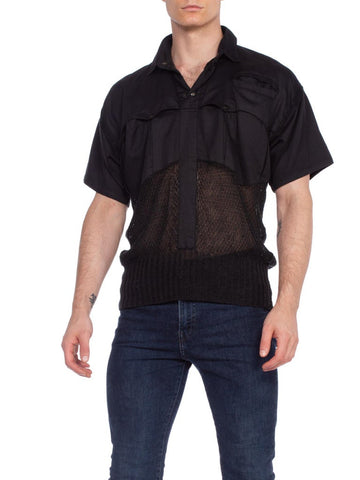 Mens Italian Knit Shirt With Military Style Pockets