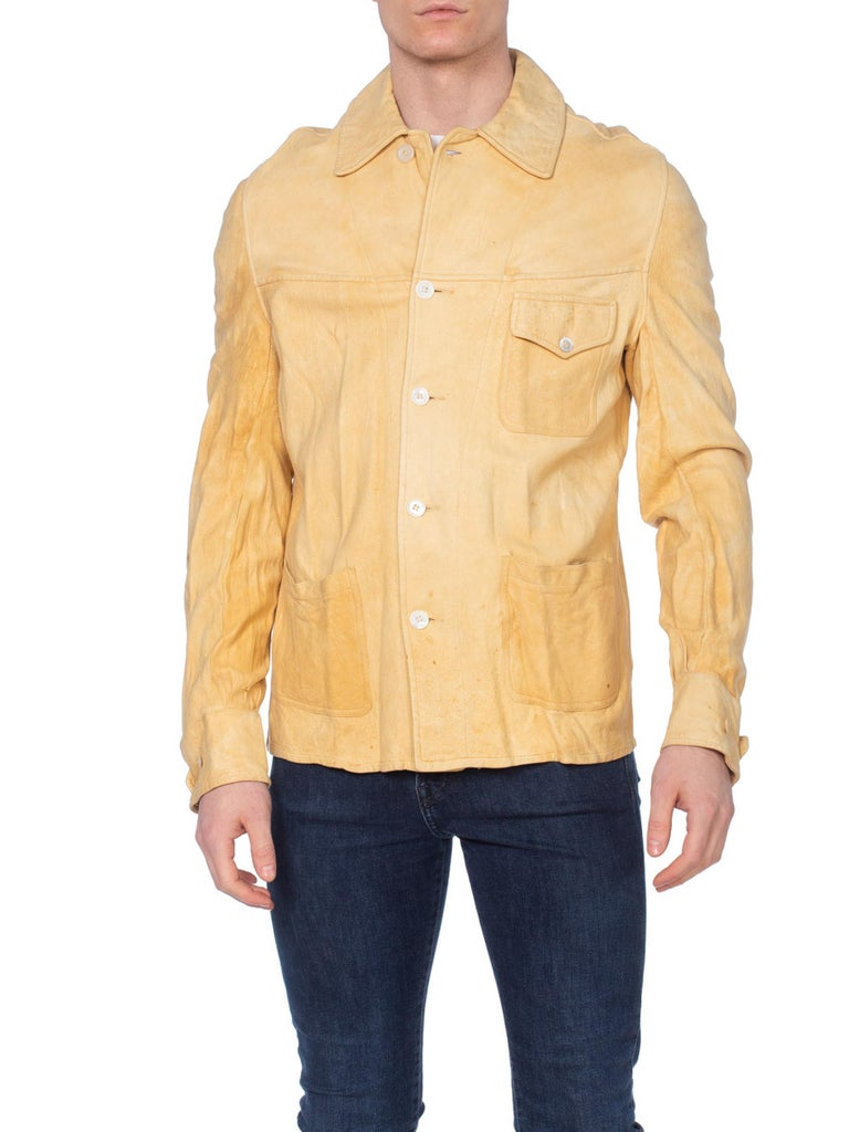 Rare 1930's Mens Suede Buckskin Leather Western Shirt Jacket