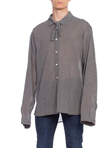 Mens Ann Demeulemeester Oversized Crepe Bow Neck Shirt
