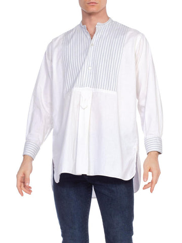 Men's Late Victorian French Pinstripe Bib Front Shirt