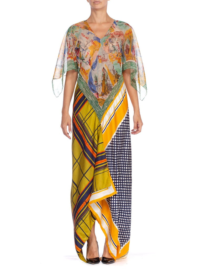 Morphew Collection Yellow & Blue Scenic Geo Print Bias Cut Dress Made From 1960'S Scarves  | Hamptons | 24hrs- Free Return policy | US Free Shipping | Pre-owned Clothing | Sustainable fashion | Women Vintage Clothing | Vintage Clothing Store | Vintage Dress | Print Maxi Dress