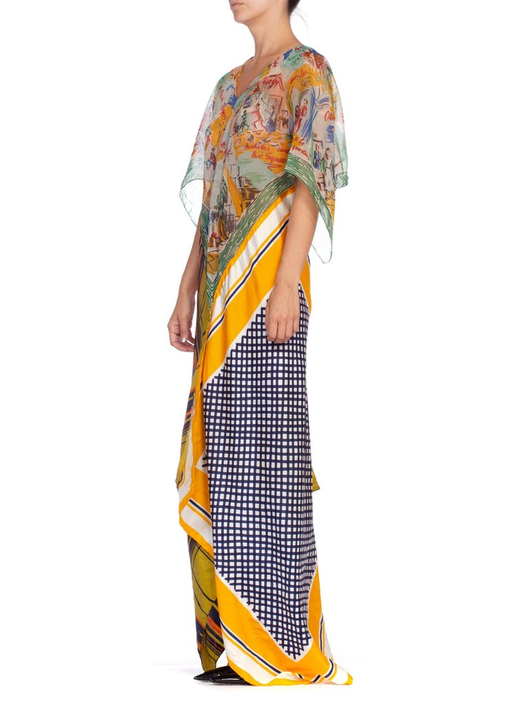 Morphew Collection Yellow & Blue Scenic Geo Print Bias Cut Kaftan Dress Made From 1960'S Scarves