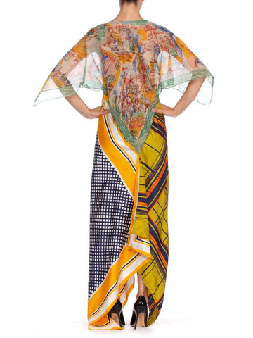 Morphew Collection Yellow & Blue Scenic Geo Print Bias Cut Dress Made From 1960'S Scarves