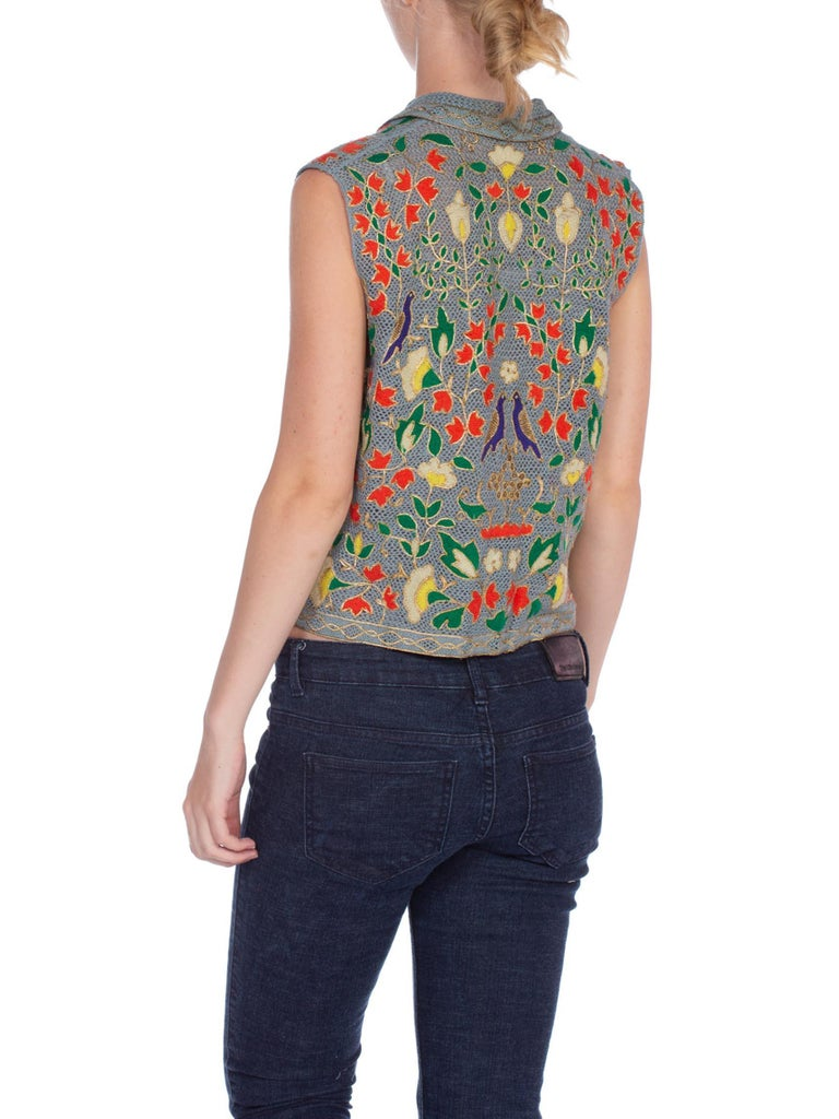 1940S Blue Wool & Brass Handmade Lace Floral Sleeveless Top