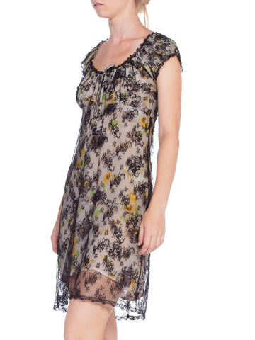 1990'S Anna Sui Floral Printed Polyester Lace Famous Baby Doll Collection Dress