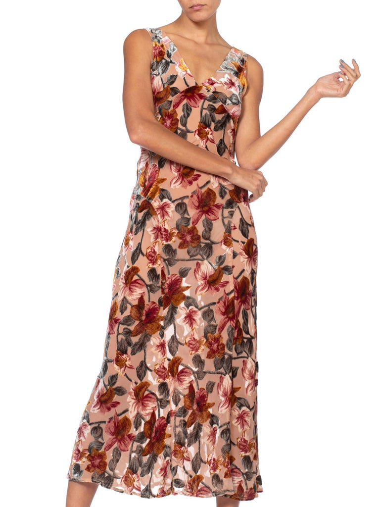1990'S  Anna Sui Floral Bias Cut Rayon & Silk Burnout Velvet Iconic Grunge Collection Slip Dress