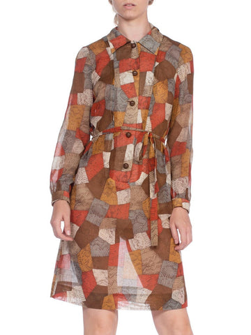 1970's Snakeskin Patchwork Cotton Shirt Dress