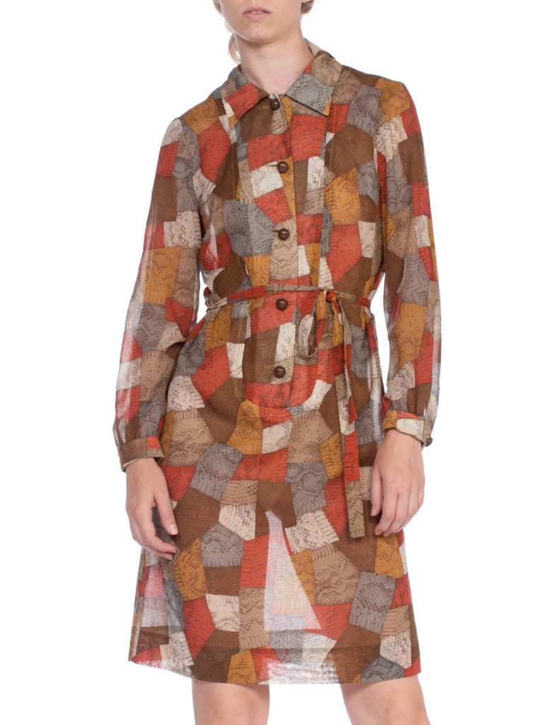 1970'S Cotton Voile Snakeskin Patchwork Printed Long Sleeve Shirt Dress With Belt