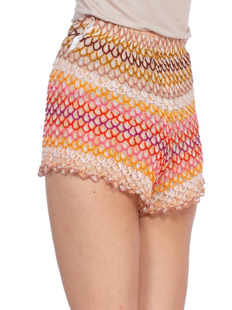 1990'S MISSONI Rainbow Orange Rayon Knit Shorts