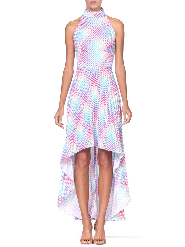 1970's OP-Art Pastel Rainbow Geometric Poly Disco Dress