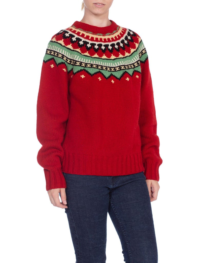 2000S Red Wool Hand Knit Native Pattern Sweater