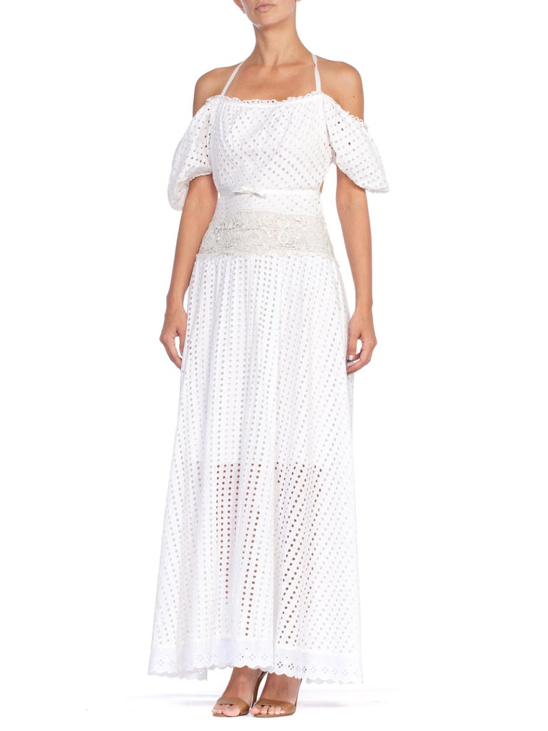 MORPHEW COLLECTION White Organic Cotton Backless Off Shoulder Maxi Dress Made From Victorian & 1930'S Lace
