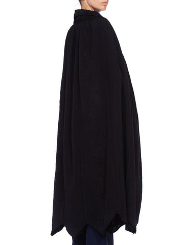 1920'S  Black Silk Crepe Edwardian Cape With Couture Hand-Embroidery
