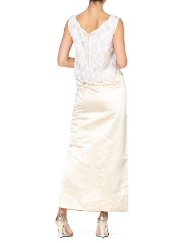 1960S White & Ivory Silk Satin Evening Gown Ensemble With Beaded Lace Tunic