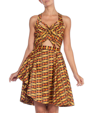1970's Morphew Collection Silk Ikat Dress