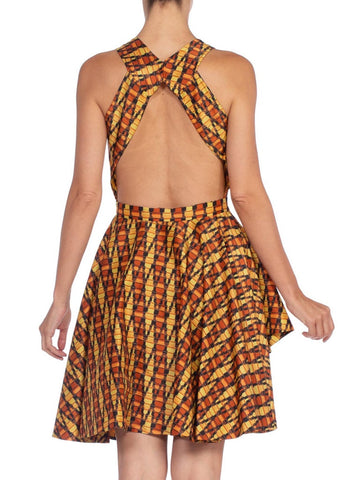 MORPHEW COLLECTION Hand Woven Silk Ikat Dress With Peek-A-Boo Front & Slit