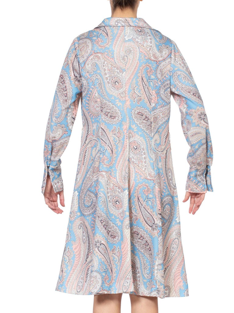 1970S Polyester Piqué Pastel Paisley Printed Dress XL