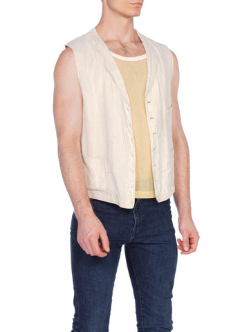 1920S Rare Men's Antique Linen And Cotton Vest  Xl
