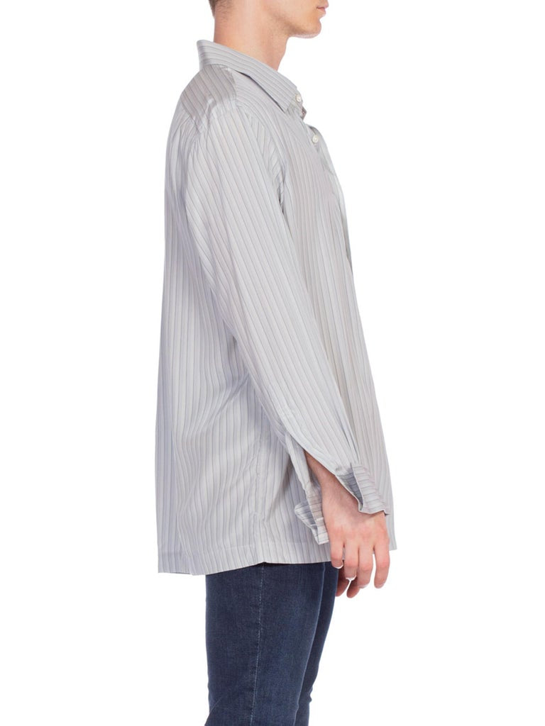 "1980'S Dove Grey Pinstripe Silk Crepe De Chine Men's ""Ascot Chang"" Bespoke French Cuff Shirt"