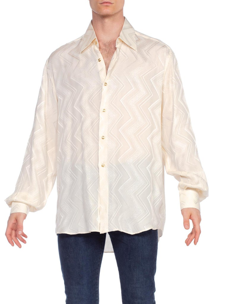 1970'S Cream Silk Jacquard Men's Disco Shirt From Beverly Hills, Made In Italy