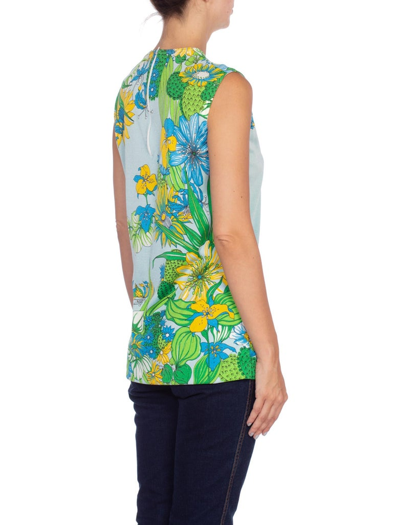 1970'S Blue & Green Polyester Jersey Desert Tropical Floral Print Top
