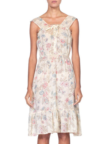 1970's Boho Victorian Floral Cotton Gauze Dress