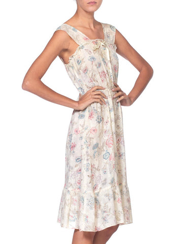 1970'S Victorian Floral Printed Cotton Gauze Dress