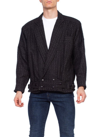 Mens 1980's Wool Blend Big Shoulder Jacket