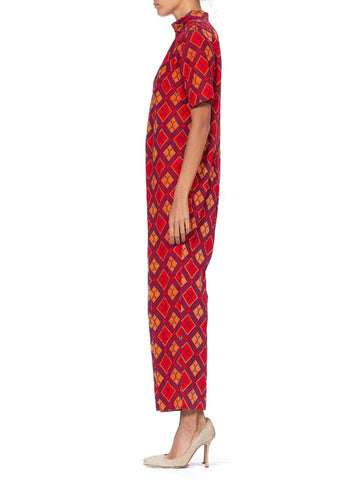 1970S Red Cotton Corduroy Printed Plaid Jumpsuit