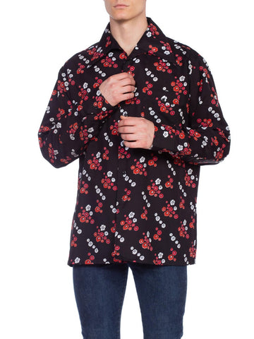 1970'S Black & Red Polyester Men's Floral Print Disco Shirt Rare Xl Size