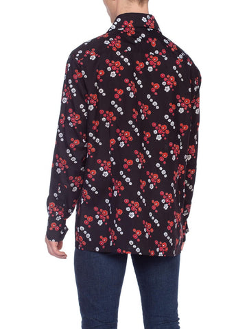 1970'S Black & Red Polyester Men's Floral Print Disco Shirt Rare XL